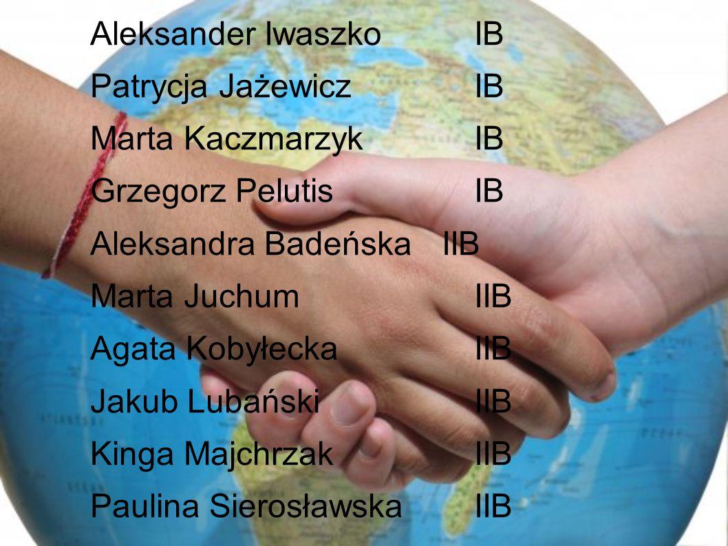 Aleksander Iwaszko IB Patrycja Jażewicz IB Marta Kaczmarzyk IB Grzegorz Pelutis IB Aleksandra Badeńska IIB Marta Juchum IIB Agata Kobyłecka IIB Jakub Lubański IIB Kinga Majchrzak IIB Paulina Sierosławska IIB