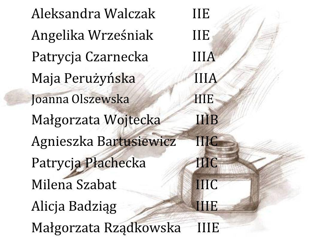 Aleksandra Walczak IIE Angelika Wrześniak IIE Patrycja Czarnecka IIIA