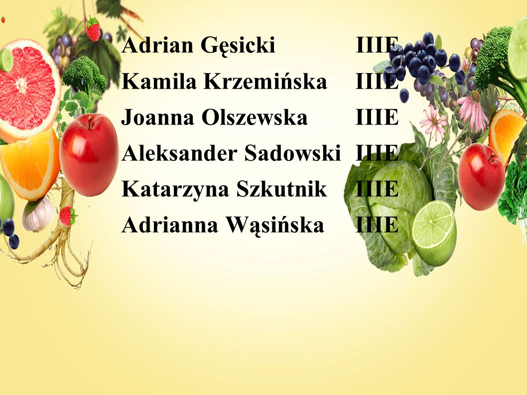 Adrian Gęsicki IIIE Kamila Krzemińska IIIE Joanna Olszewska IIIE Aleksander Sadowski IIIE Katarzyna Szkutnik IIIE Adrianna Wąsińska IIIE