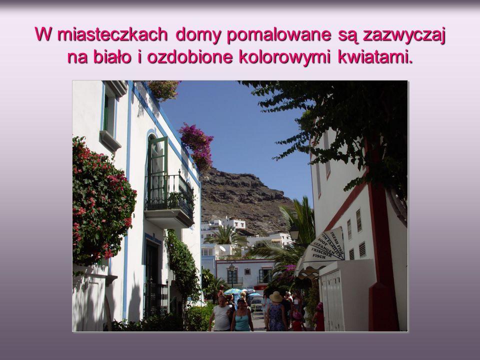 W miasteczkach domy pomalowane są zazwyczaj na biało i ozdobione kolorowymi kwiatami.