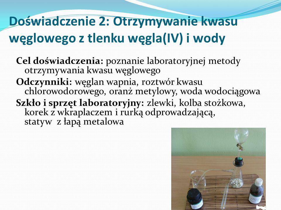 Doświadczenie 2: Otrzymywanie kwasu węglowego z tlenku węgla(IV) i wody