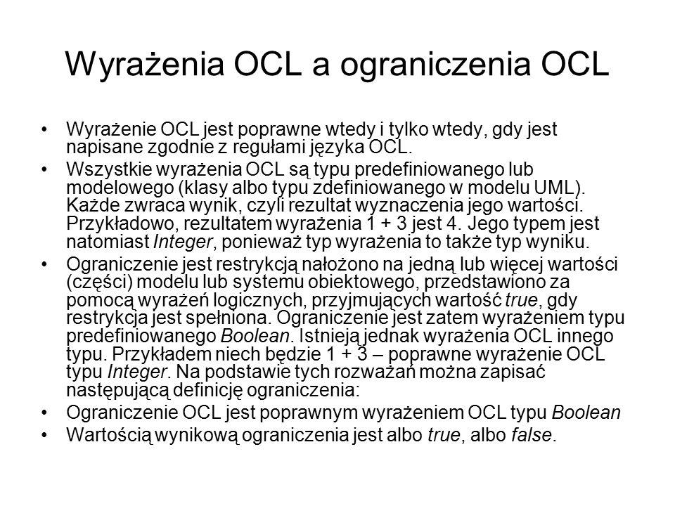 Wyrażenia OCL a ograniczenia OCL