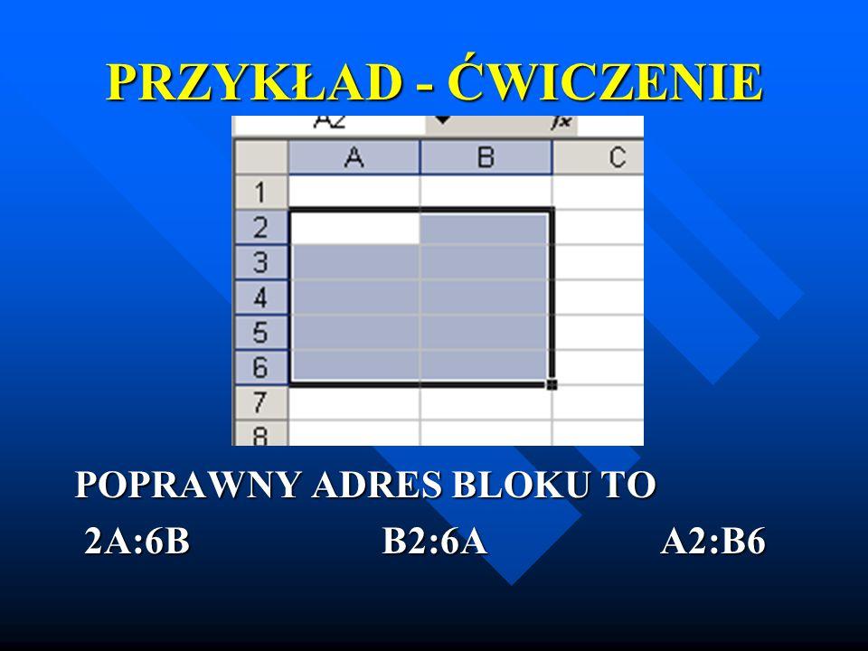 PRZYKŁAD - ĆWICZENIE POPRAWNY ADRES BLOKU TO 2A:6B B2:6A A2:B6