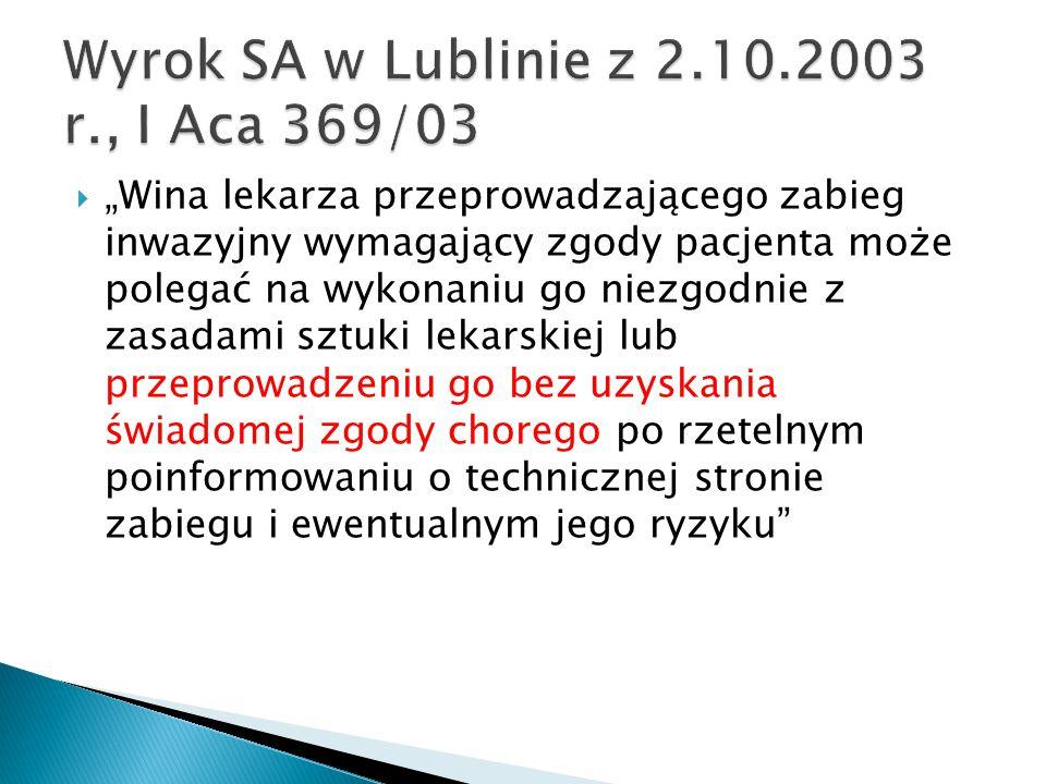 Wyrok SA w Lublinie z 2.10.2003 r., I Aca 369/03