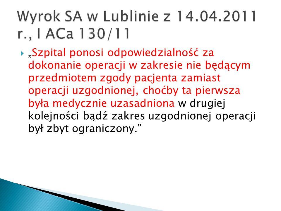 Wyrok SA w Lublinie z 14.04.2011 r., I ACa 130/11