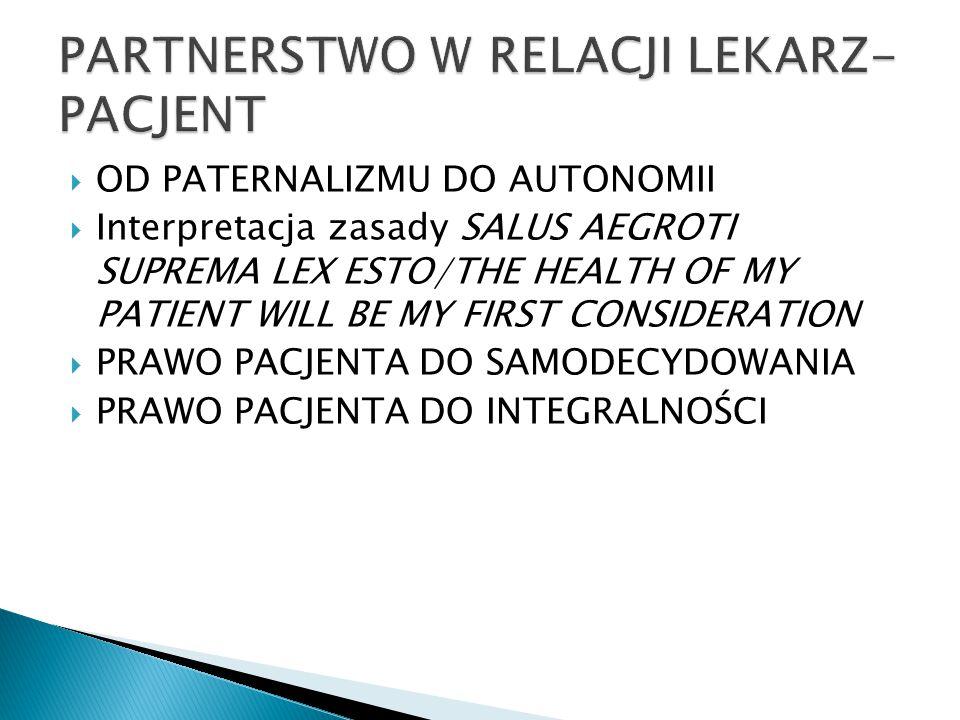 PARTNERSTWO W RELACJI LEKARZ-PACJENT