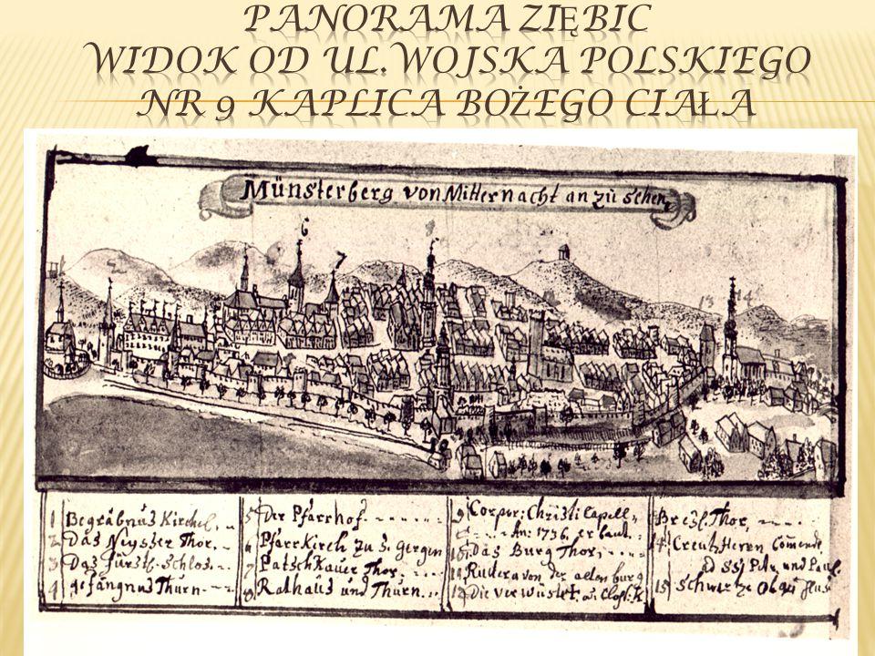 Panorama ziębic widok od ul.Wojska Polskiego Nr 9 kaplica Bożego ciała