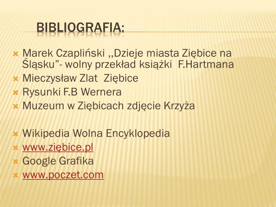 bibliografia: Marek Czapliński ,,Dzieje miasta Ziębice na Śląsku - wolny przekład książki F.Hartmana.