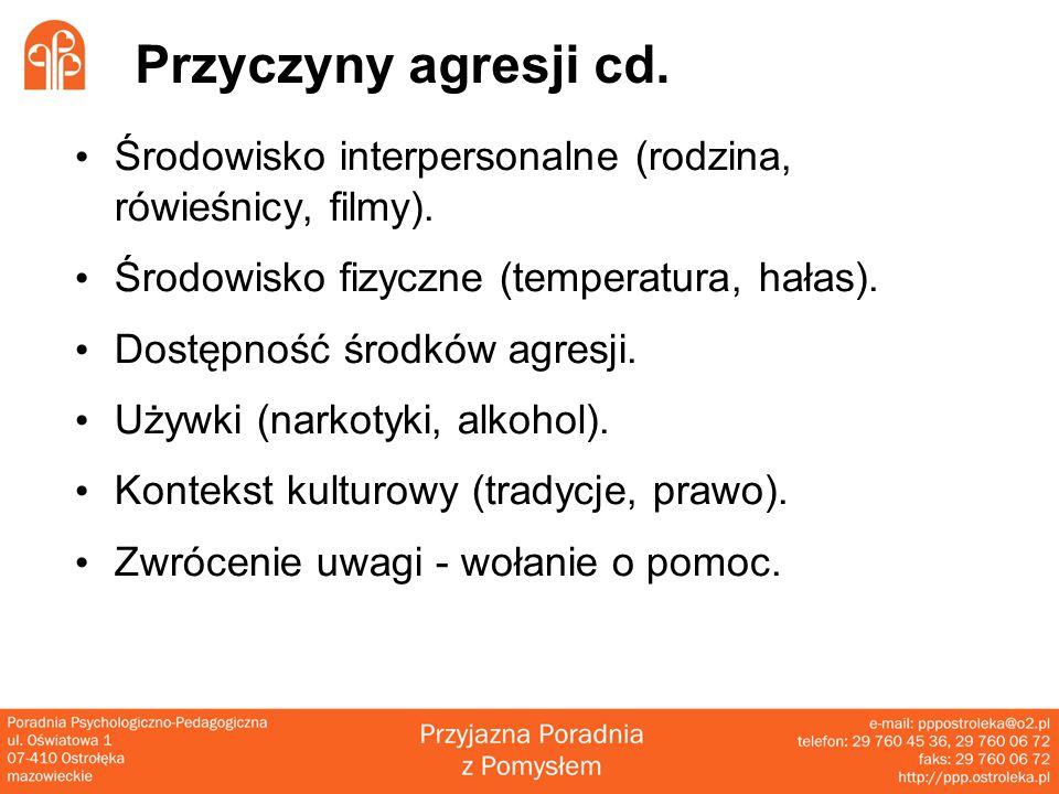 Przyczyny agresji cd. Środowisko interpersonalne (rodzina, rówieśnicy, filmy). Środowisko fizyczne (temperatura, hałas).