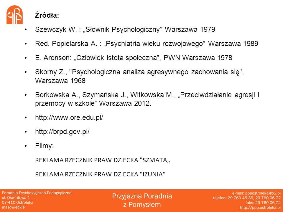"""Źródła: Szewczyk W. : """"Słownik Psychologiczny Warszawa 1979. Red. Popielarska A. : """"Psychiatria wieku rozwojowego Warszawa 1989."""