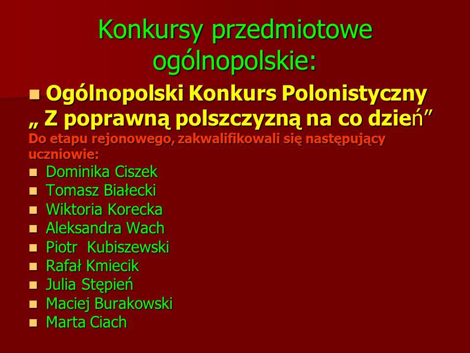 Konkursy przedmiotowe ogólnopolskie: