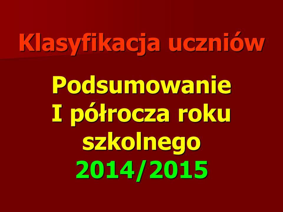 Podsumowanie I półrocza roku szkolnego 2014/2015