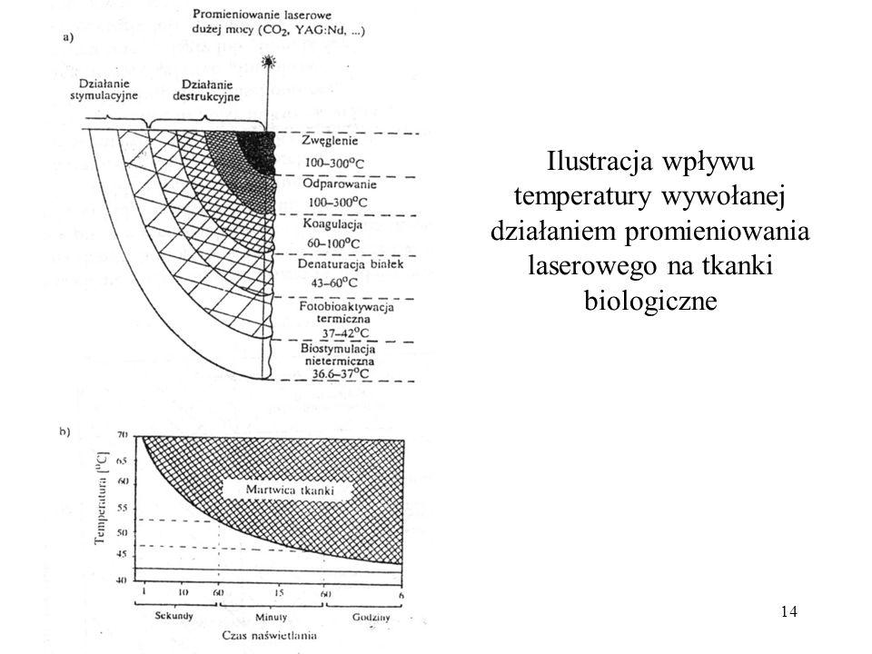 Ilustracja wpływu temperatury wywołanej działaniem promieniowania laserowego na tkanki biologiczne