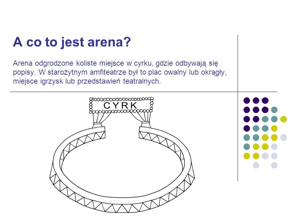 A co to jest arena. Arena odgrodzone koliste miejsce w cyrku, gdzie odbywają się popisy.