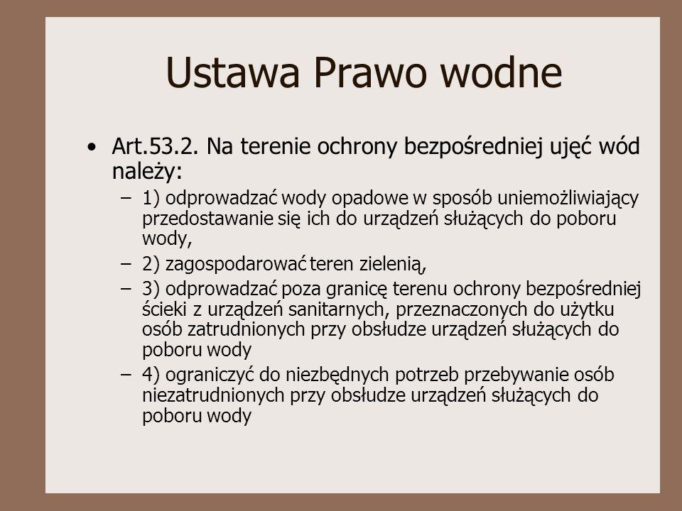 Ustawa Prawo wodne Art.53.2. Na terenie ochrony bezpośredniej ujęć wód należy: