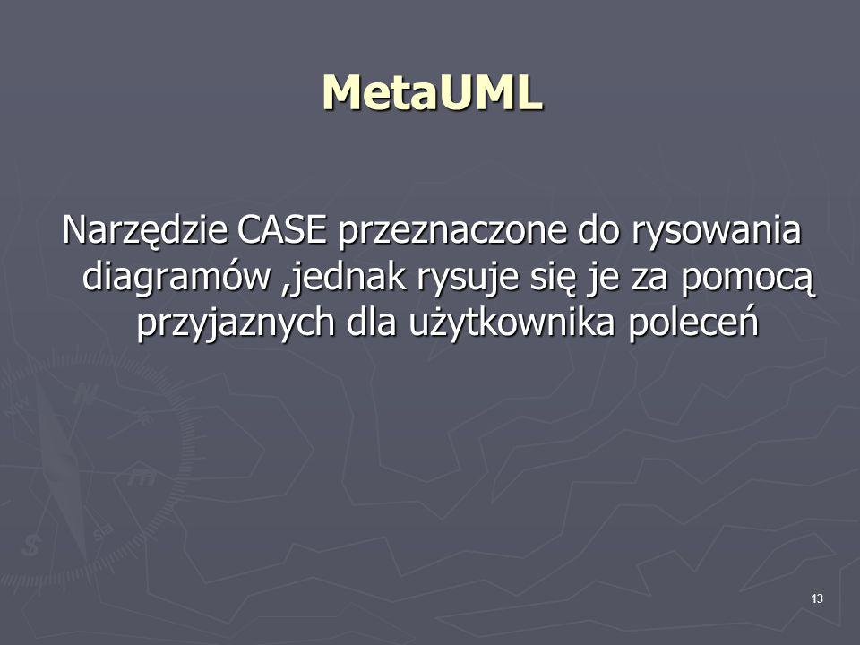 MetaUML Narzędzie CASE przeznaczone do rysowania diagramów ,jednak rysuje się je za pomocą przyjaznych dla użytkownika poleceń.