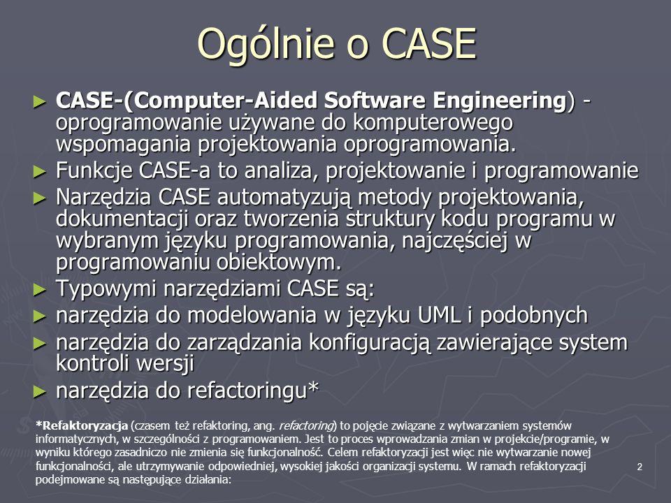 Ogólnie o CASE CASE-(Computer-Aided Software Engineering) - oprogramowanie używane do komputerowego wspomagania projektowania oprogramowania.