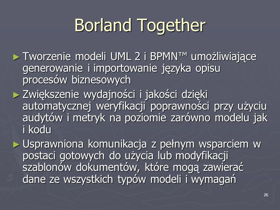 Borland Together Tworzenie modeli UML 2 i BPMN™ umożliwiające generowanie i importowanie języka opisu procesów biznesowych.