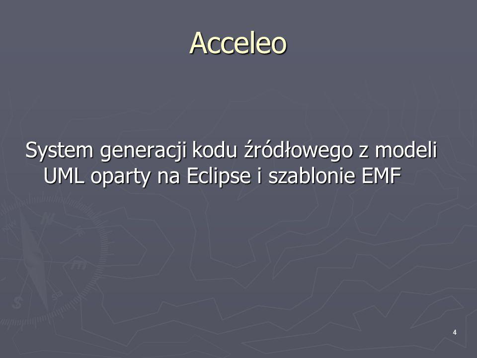 Acceleo System generacji kodu źródłowego z modeli UML oparty na Eclipse i szablonie EMF