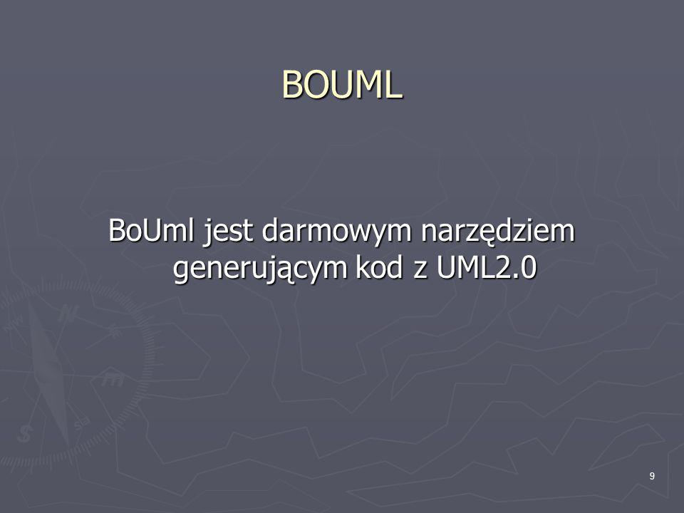 BoUml jest darmowym narzędziem generującym kod z UML2.0