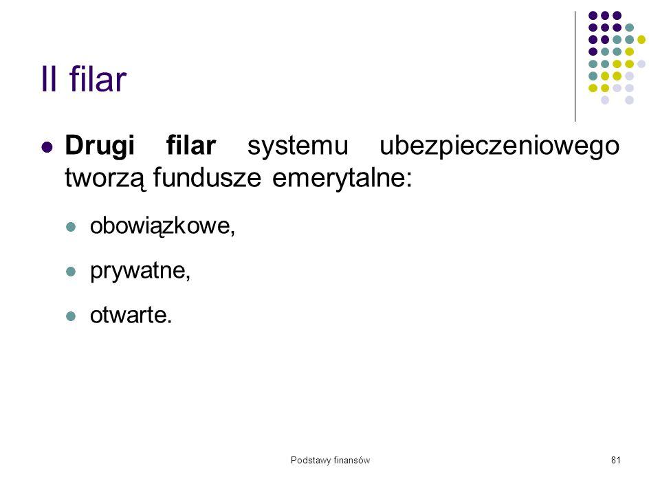 II filar Drugi filar systemu ubezpieczeniowego tworzą fundusze emerytalne: obowiązkowe, prywatne,
