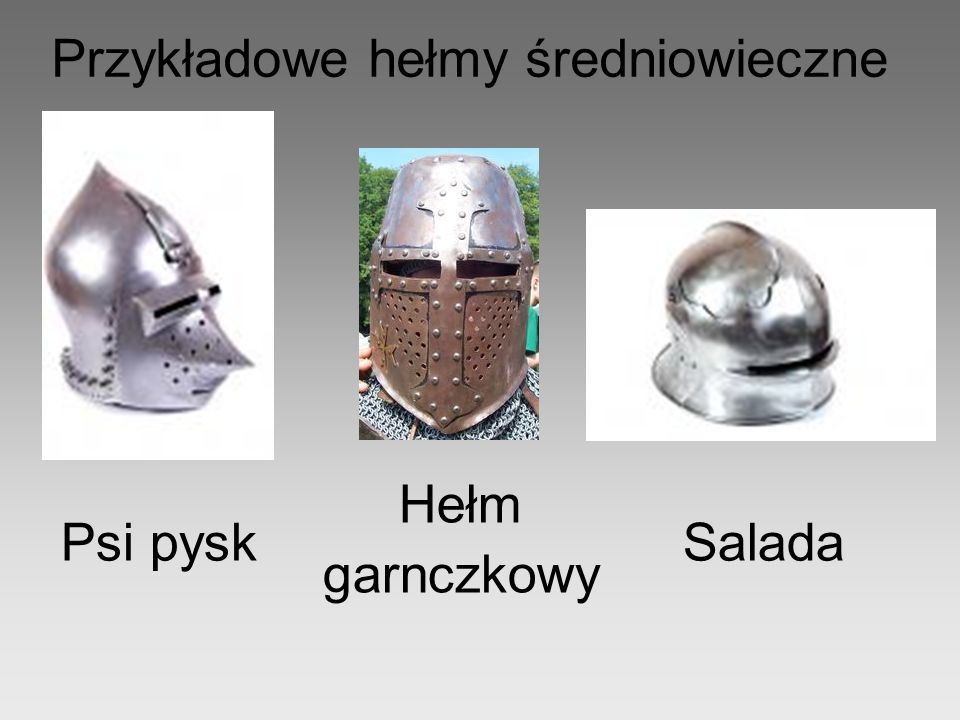 Przykładowe hełmy średniowieczne