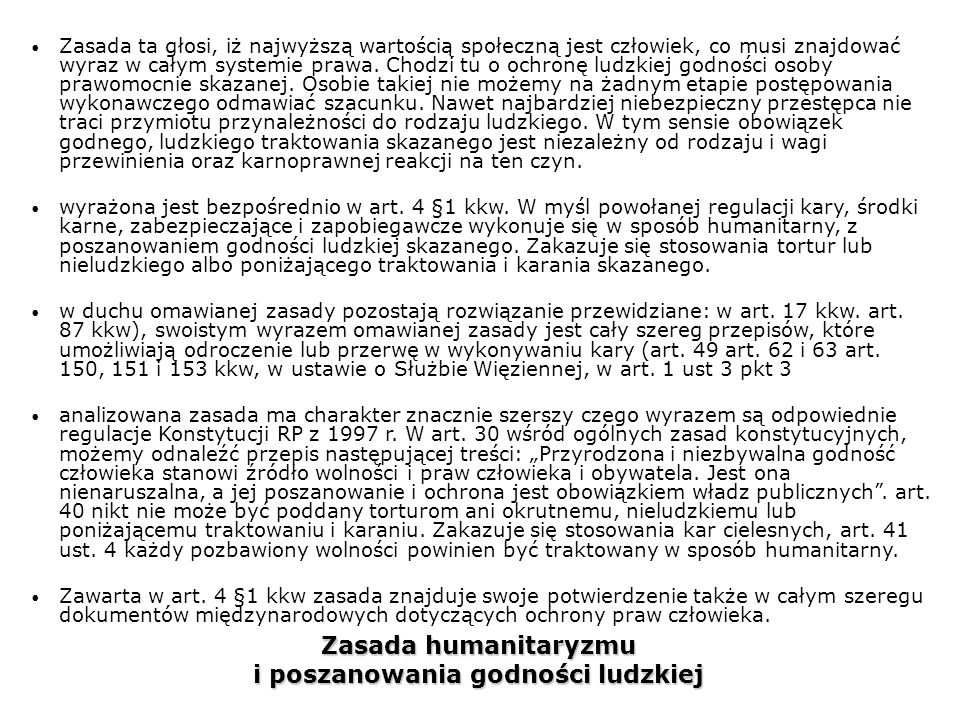 Zasada humanitaryzmu i poszanowania godności ludzkiej