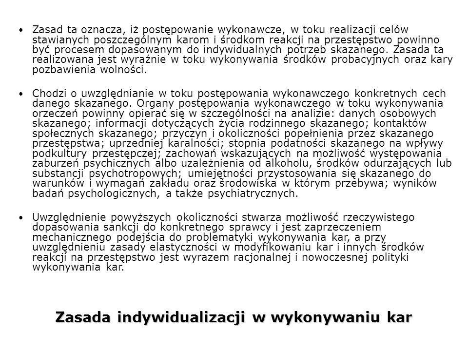 Zasada indywidualizacji w wykonywaniu kar