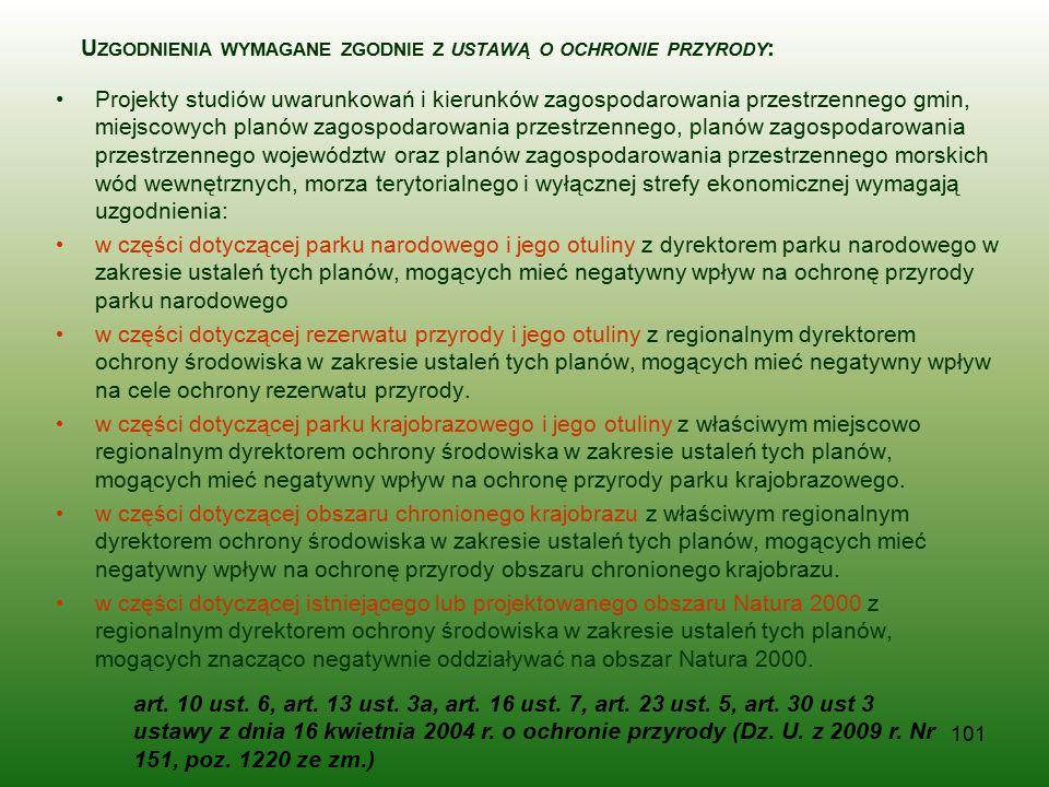 Uzgodnienia wymagane zgodnie z ustawą o ochronie przyrody: