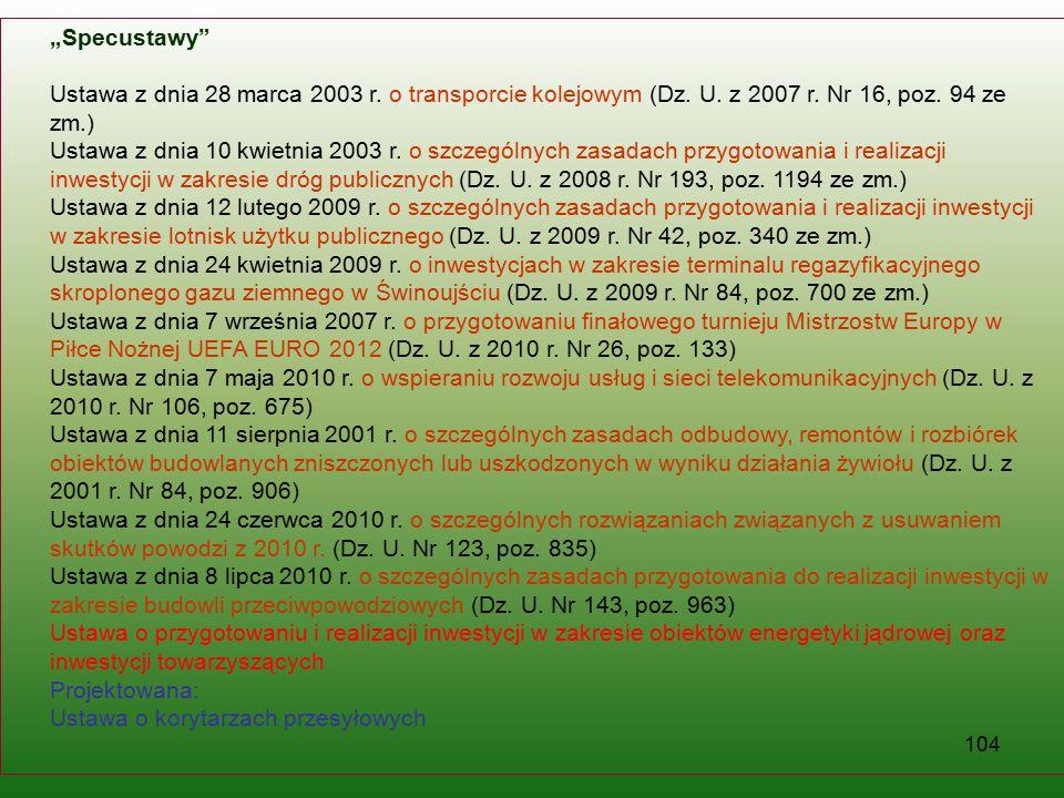 """""""Specustawy Ustawa z dnia 28 marca 2003 r. o transporcie kolejowym (Dz. U. z 2007 r. Nr 16, poz. 94 ze zm.)"""