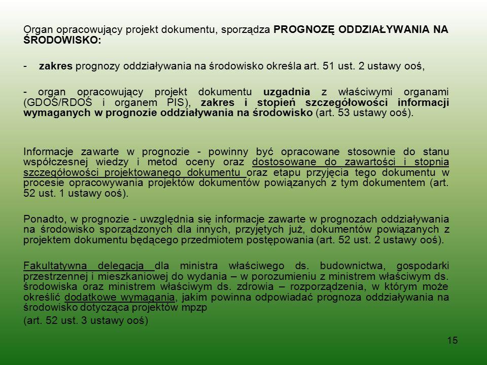 Organ opracowujący projekt dokumentu, sporządza PROGNOZĘ ODDZIAŁYWANIA NA ŚRODOWISKO: