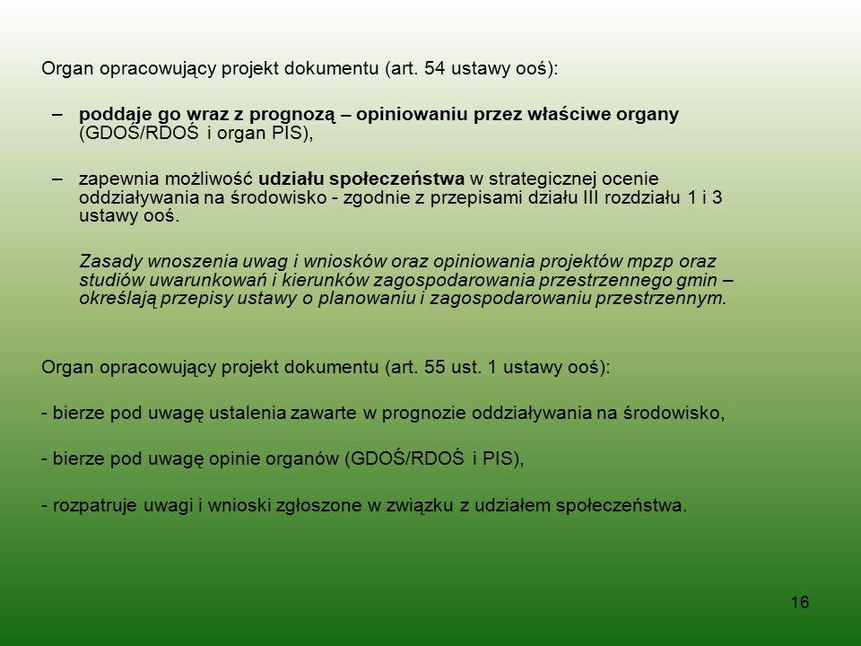 Organ opracowujący projekt dokumentu (art. 54 ustawy ooś):