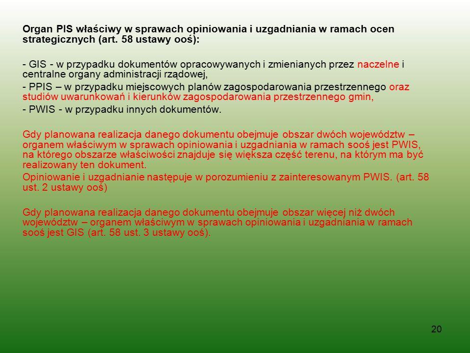 Organ PIS właściwy w sprawach opiniowania i uzgadniania w ramach ocen strategicznych (art. 58 ustawy ooś):