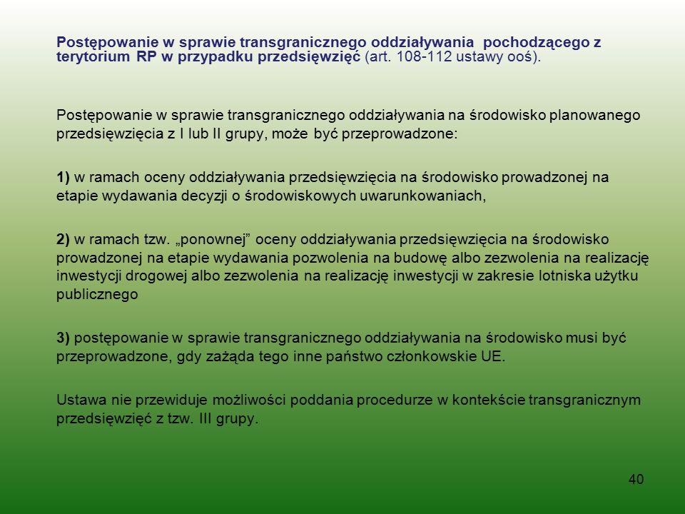 Postępowanie w sprawie transgranicznego oddziaływania pochodzącego z terytorium RP w przypadku przedsięwzięć (art.