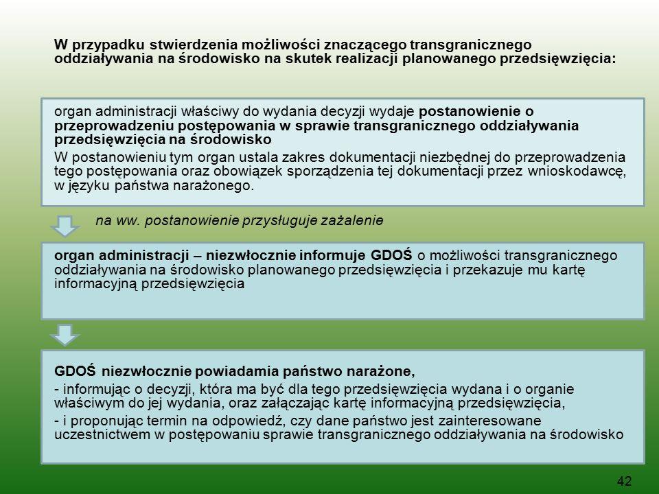 W przypadku stwierdzenia możliwości znaczącego transgranicznego oddziaływania na środowisko na skutek realizacji planowanego przedsięwzięcia: organ administracji właściwy do wydania decyzji wydaje postanowienie o przeprowadzeniu postępowania w sprawie transgranicznego oddziaływania przedsięwzięcia na środowisko W postanowieniu tym organ ustala zakres dokumentacji niezbędnej do przeprowadzenia tego postępowania oraz obowiązek sporządzenia tej dokumentacji przez wnioskodawcę, w języku państwa narażonego.