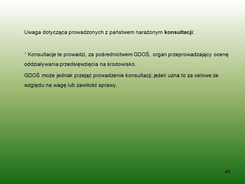 Uwaga dotycząca prowadzonych z państwem narażonym konsultacji: