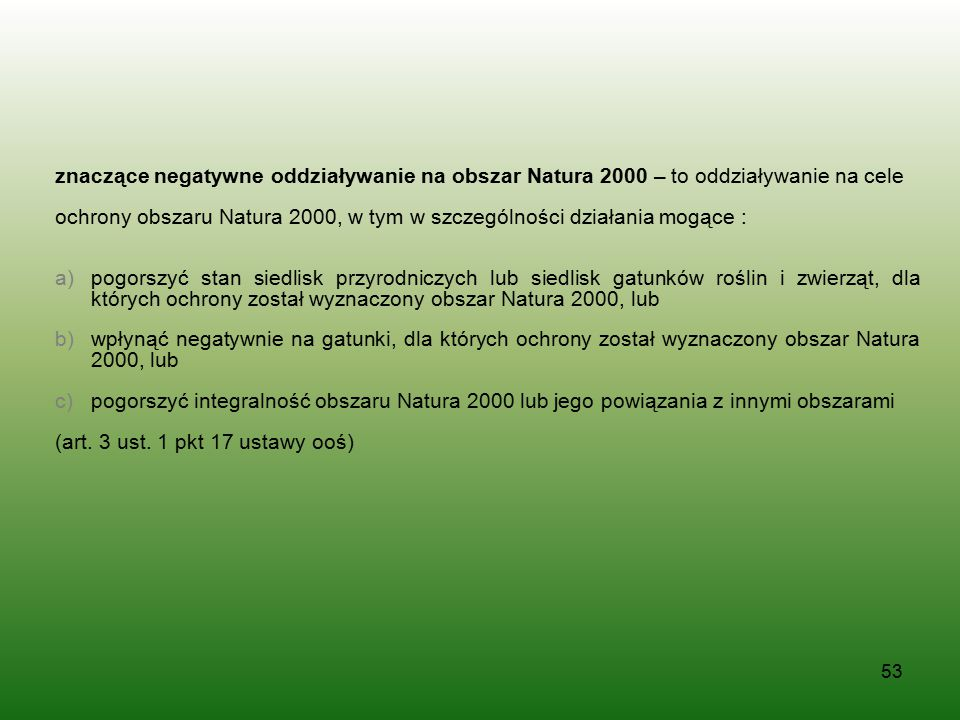 znaczące negatywne oddziaływanie na obszar Natura 2000 – to oddziaływanie na cele