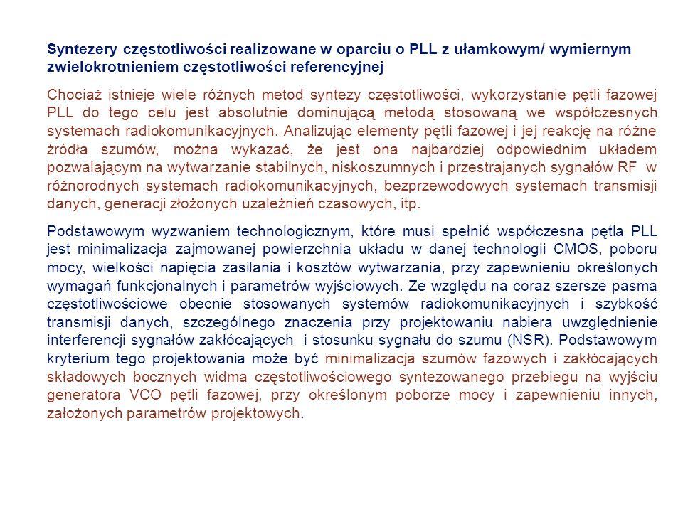 Syntezery częstotliwości realizowane w oparciu o PLL z ułamkowym/ wymiernym zwielokrotnieniem częstotliwości referencyjnej