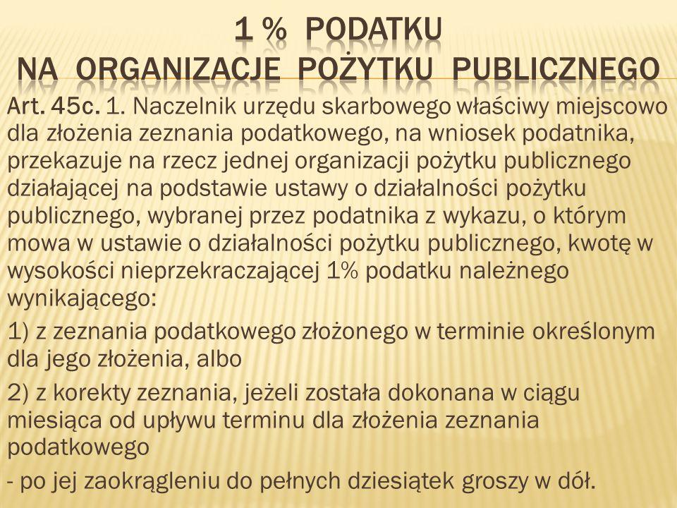 1 % podatku na organizacje pożytku publicznego
