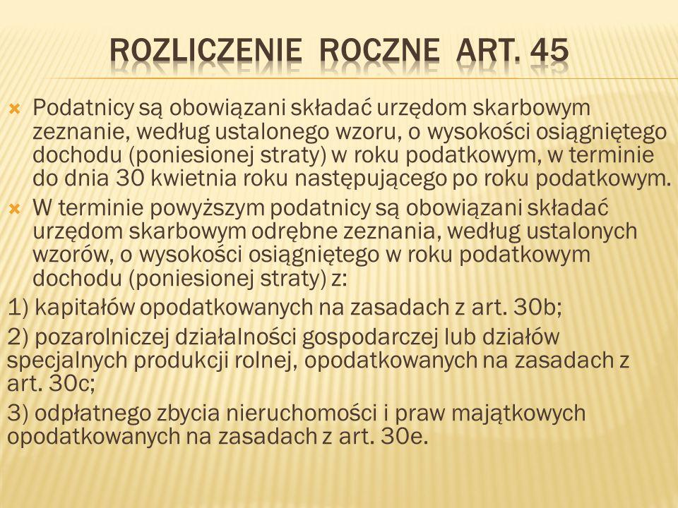 Rozliczenie roczne art. 45