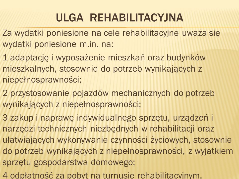 ulga rehabilitacyjna