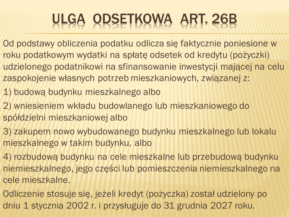 Ulga odsetkowa Art. 26b