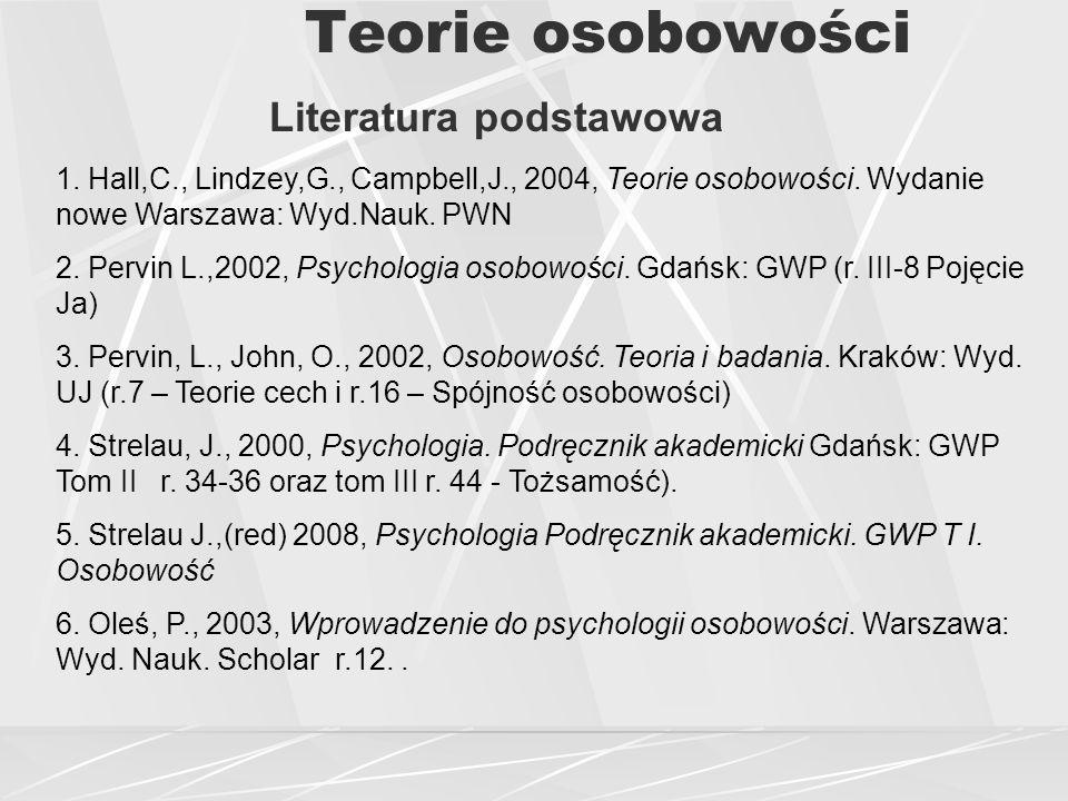 Teorie osobowości Literatura podstawowa