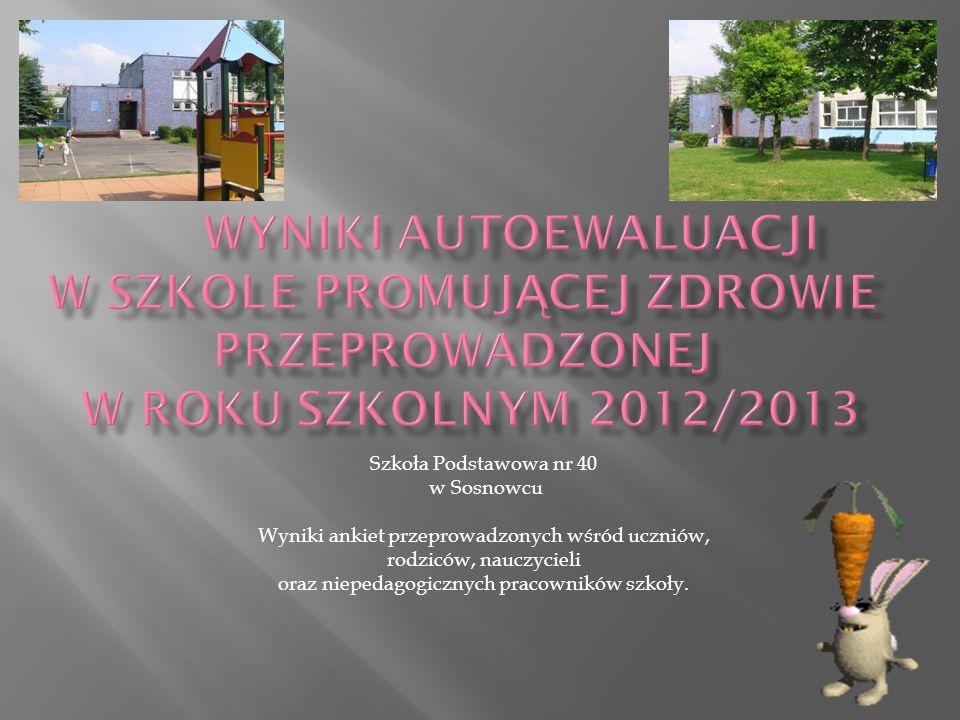 Wyniki autoewaluacji w Szkole Promującej Zdrowie przeprowadzonej w roku szkolnym 2012/2013