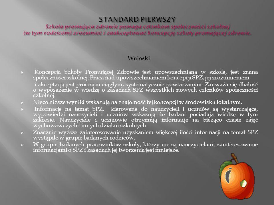 STANDARD PIERWSZY Szkoła promująca zdrowie pomaga członkom społeczności szkolnej (w tym rodzicom) zrozumieć i zaakceptować koncepcję szkoły promującej zdrowie.