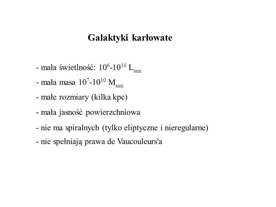 Galaktyki karłowate - mała świetlność: 106-1010 Lsun