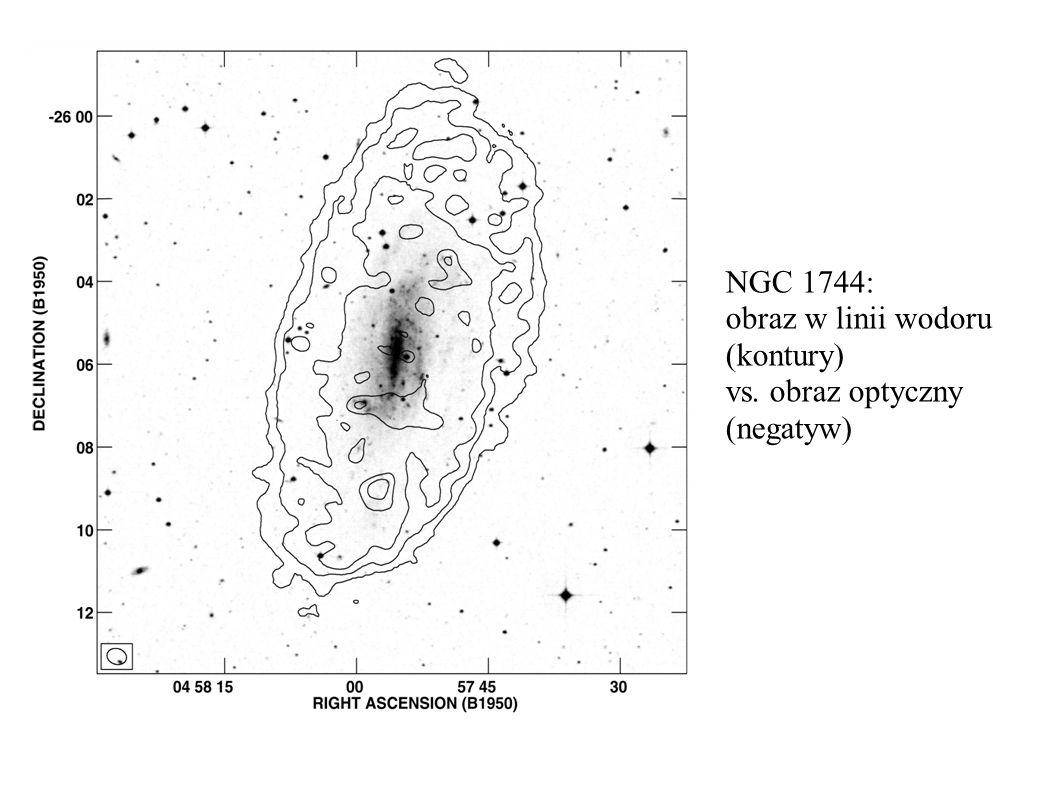 NGC 1744: obraz w linii wodoru (kontury) vs. obraz optyczny (negatyw)