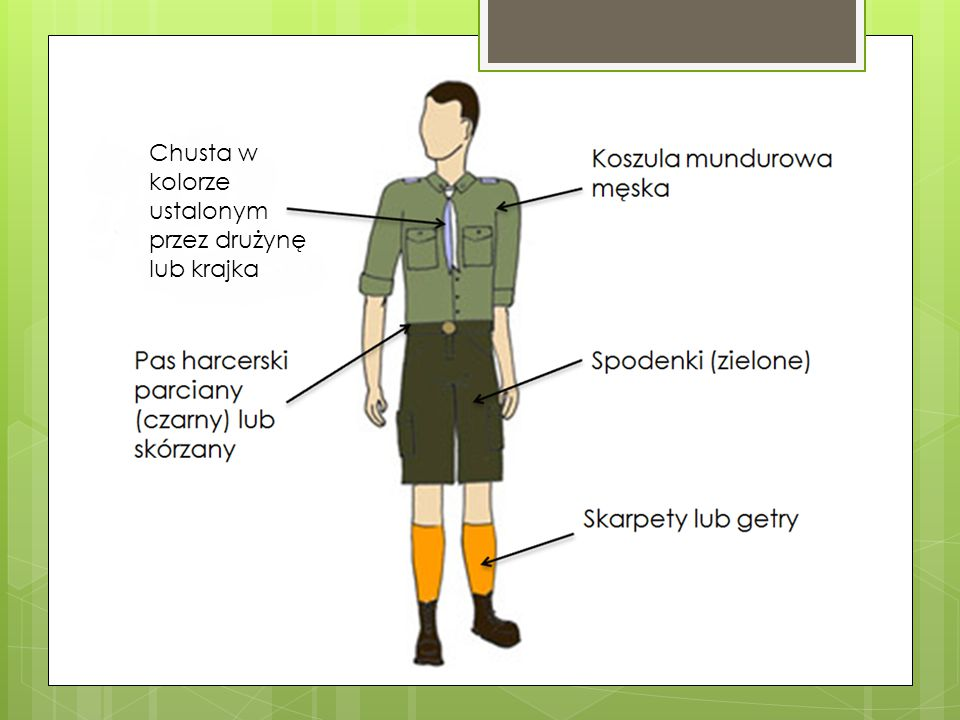 Chusta w kolorze ustalonym przez drużynę lub krajka