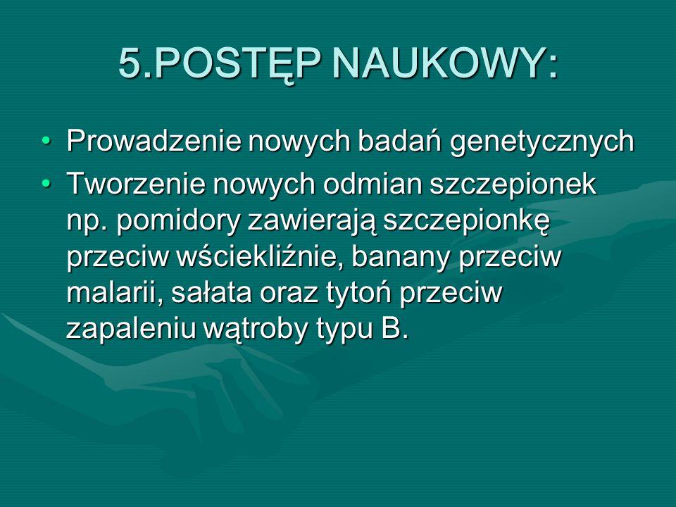 5.POSTĘP NAUKOWY: Prowadzenie nowych badań genetycznych