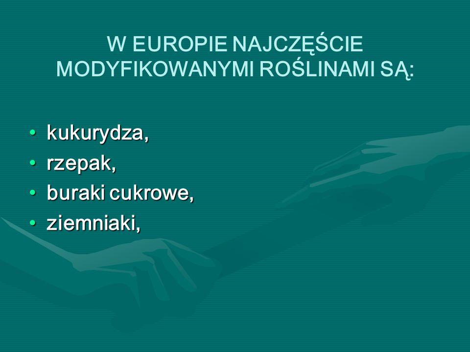 W EUROPIE NAJCZĘŚCIE MODYFIKOWANYMI ROŚLINAMI SĄ: